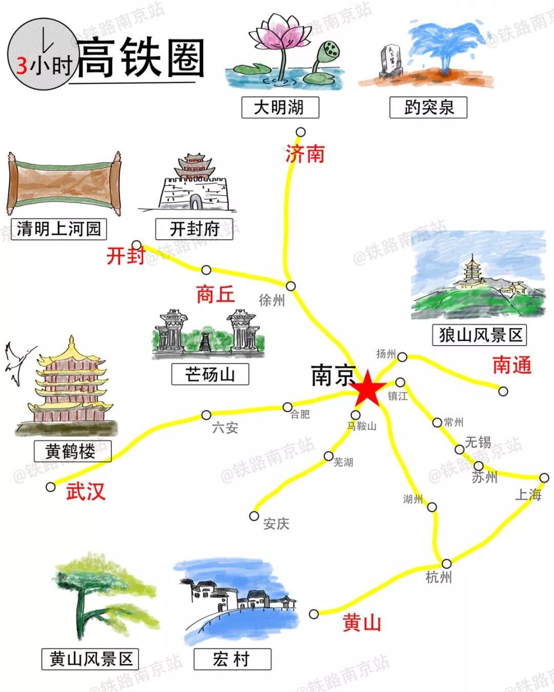 南京铁路发布1—4小时高铁旅游地图,快来看看周末去哪儿打卡